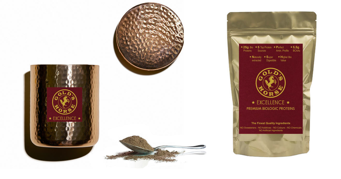 Gold's Horse Excellence - Premium Bio Organic Proteins - Luxury plant based protein powder - Luxury vegan protein powder - Premium plant based protein powder - High quality plant based protein powder - Top quality plant based protein powder